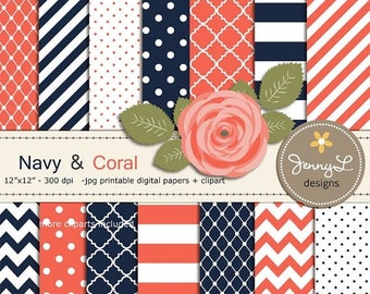 50% OFF Coral and Navy Digital Paper, Coral Rose Flower Clipart for Wedding, Bridal Baby Shower, Birthday, Digital Scrapbooking, Invites