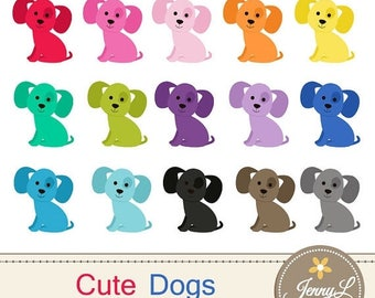 50% OFF Dog Clipart, Puppy, Animal Digital Clipart for Planners, Digital Scrapbooking, Invitations, Stickers, Labels