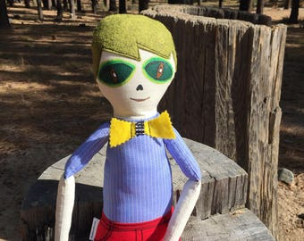 """Handmade boy rag doll, alien doll, soft doll, extraterrestrial doll, cool boy doll 21"""", handmade soft boy doll"""