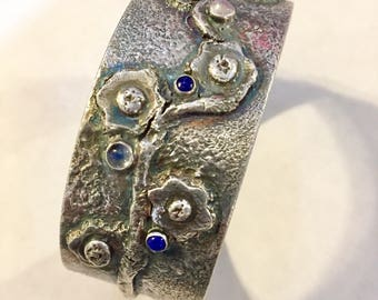 Sterling and Fine Silver Cuff with Stones