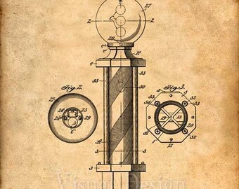 Barber Pole Patent Print - Patent Art Print - Patent Poster - Barber Art - Barbershop - Barber Gift - Barber Print - Barber Poster