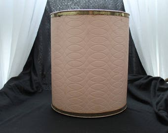 Pink Quilted Over Metal Trash Can / Footed
