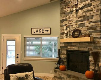 Lake house sign, cabin sign, lake sign, framed lake sign, lake this way sign, large lake sign, lakehouse, cabin decor, country home sign