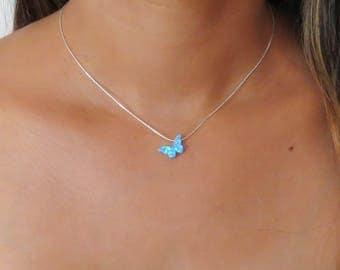 Butterfly necklace, Opal butterfly necklace, Blue Opal Necklace, Butterfly jewelry, Delicate jewelry, Opal jewelry, October birthstone, Blue