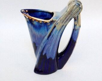 French Little Vase in Ultramarine Blue and Gold Porcelain
