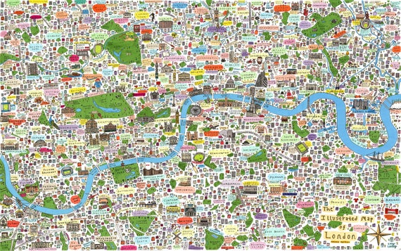 Limited edition A0 illustrated map of London print