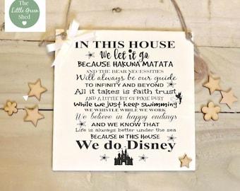Disney Quotes Plaque Nursery Birthday Sign  In This House We Let It Go  20x20cm