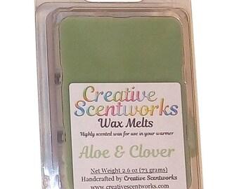 Aloe and Clover Scented Wax Melts, Wax Cubes, Wax Tart, Wickless Candle, Melting Wax, Wax Melt, Scent Bar, Scent Cube, Wax Bar