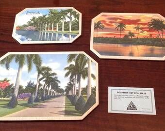 Set of Three Miami, Florida Souvenir Hot Dish Mats Vintage