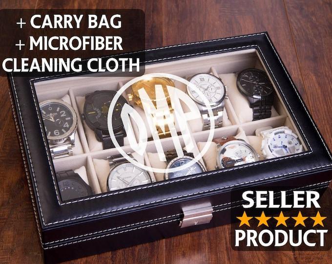 Personazlied Watch Box, Mens Watch Case, Custom Engraved Watch Organizer, Jewelry Organizer, Man Gift, Watch Display Box, Monogram