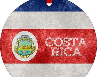 Costa Rican Grunge Flag-Double-Sided Round Shaped Flat Aluminum Christmas Holiday Hanging Tree Ornament with a Red Satin Ribbon. Made i USA