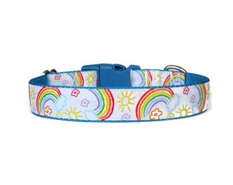 SALE! Pre-Made/Ready-to-Ship Sunshine & Rainbows Adjustable Dog Collar (Buckle)