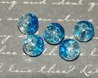 White cracked glass beads 5 / 8mm turquoise