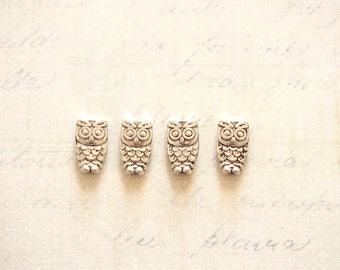 4 mini beads OWL / OWL silver-plated 10x6mm