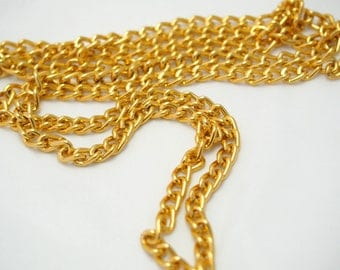 Fancy 7x5mm Golden aluminum chain * 50cm