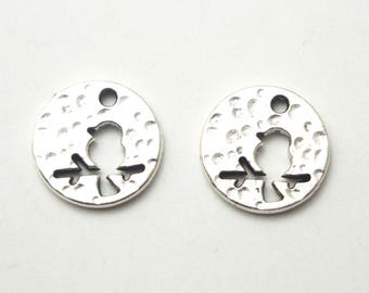 2 charms / round medallions hammered with 14mm silver metal bird