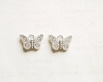 2 charms 16x10mm engraved silver metal Butterfly