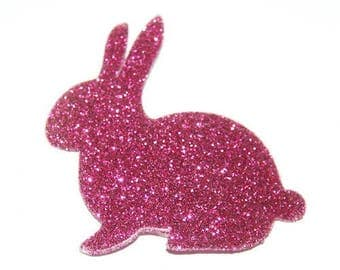 Rabbit Head left - fusible applique pink fuchsia glitter
