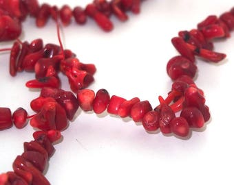 10 Red coral chips 9 / 12mm