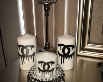 Designer inspired candle set, fashion candles, designer candles, designer decor