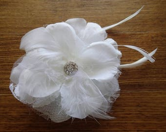 Flower Hairpiece, Fascinator, Feather Hairpiece, Bridal Flower Hairpiece, Wedding Hairpiece