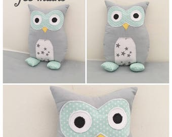 Plush or plush OWL or sea green and grey OWL unique and original handmade gift