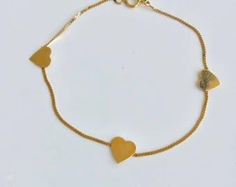 14 karat gold heart bracelet Heart Chain bracelet Heart charm bracelet