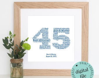Personalised 45th ANNIVERSARY GIFT - Word Art - Printable - Gift for Husband - 45th Wedding Anniversary - Sapphire Anniversary - Wife Gift