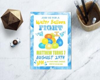 Water Balloon Fight Birthday Invite, PRINTABLE