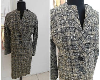 Vintage 1950s Plaid Nubby Wool Skirt Suit   Two Piece Gray Plaid Nubby Wool Skirt Suit   Medium