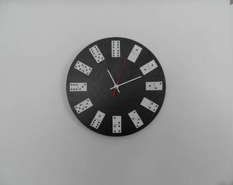 Round domino clock black and white domino clock wall clock, Housewares, unique wall clock, gift for men, wooden wall clock, clock.