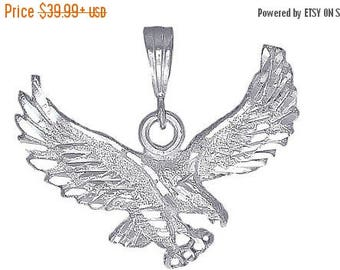 ON SALE Sterling Silver .925 Flying Eagle Pendant Necklace Charm DiamondCut Made In USA