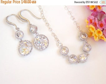 SALE Wedding Jewelry, Cubic Zirconia, Sterling Silver, Bridesmaids Gifts, Earrings and Necklace,Mother's of the Bride Set,Dangle,Long,Pendan