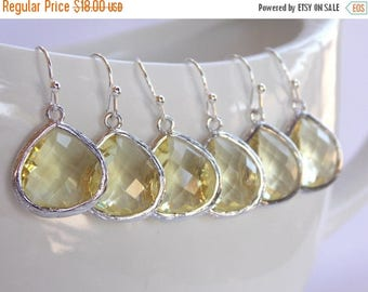 SALE Wedding Jewelry, Yellow Earrings, Wedding Gifts, Soft Yellow, Jonquil, Silver, Bridesmaid Jewelry, Bridesmaid Earrings, Dangle, Gifts,