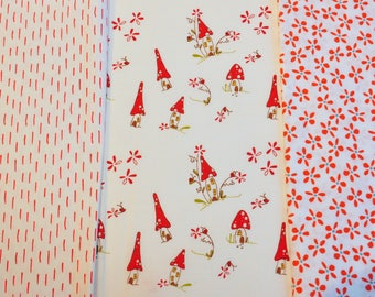 Quilt cotton Fabric destash 3 piece bundle  white and red - dashes and daisies and dainty woodland cottages Andover Lecien Creative Thursday