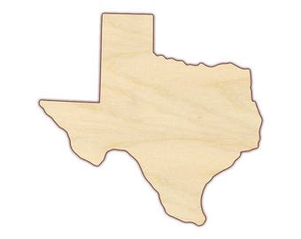 Texas State Shape - State of Texas - Unfinished wood, Texas Door hanger, wall hanging