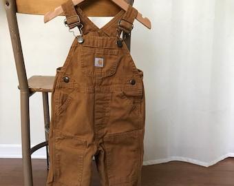 grey boy's vintage brown carhartt overalls - size 9 months