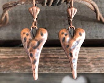 Heart Earrings In Hammered Antique Copper.