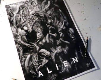 Aliens Pencil Portrait Print