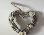 Small wicker shabby-chic hanging heart