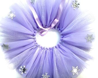 Winter Onderland Birthday Dress Tutu - Purple and Silver - Purple Winter Onderland Tutu - Silver snowflake detail