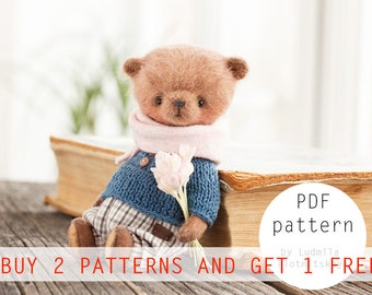 OOAK Mikke Teddy Bear pattern, teddy pattern, teddy bear, soft toy pattern, miniature bear, 4.5 inches