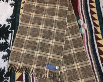 Vintage Pendleton 100% Virgin Wool Plaid Scarf