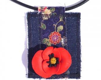 Pendant textile poppy 3D fimo Japanese fabric and denim