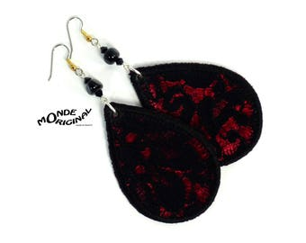 Lace and silk evening earrings