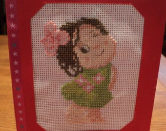 Birthday card or another embroidered cross stitch: Lucy