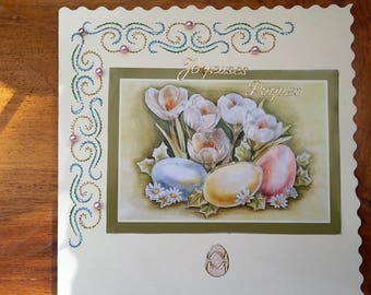 White flowers and Easter eggs - hand made card