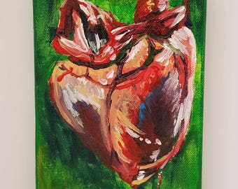 Heart Acrylic Painting --- 5x7 --- Stretched Cotton Canvas ---Bloody Valentine