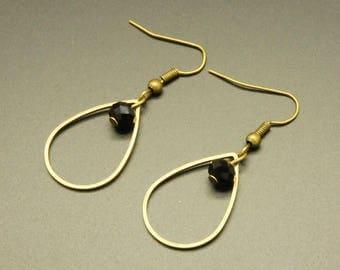 Bronze drop earrings, Crystal beads