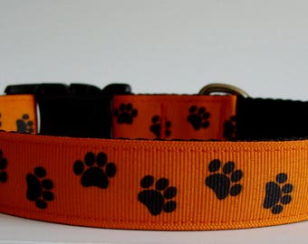READY TO SHIP! Halloween Dog Collar - Paw Print